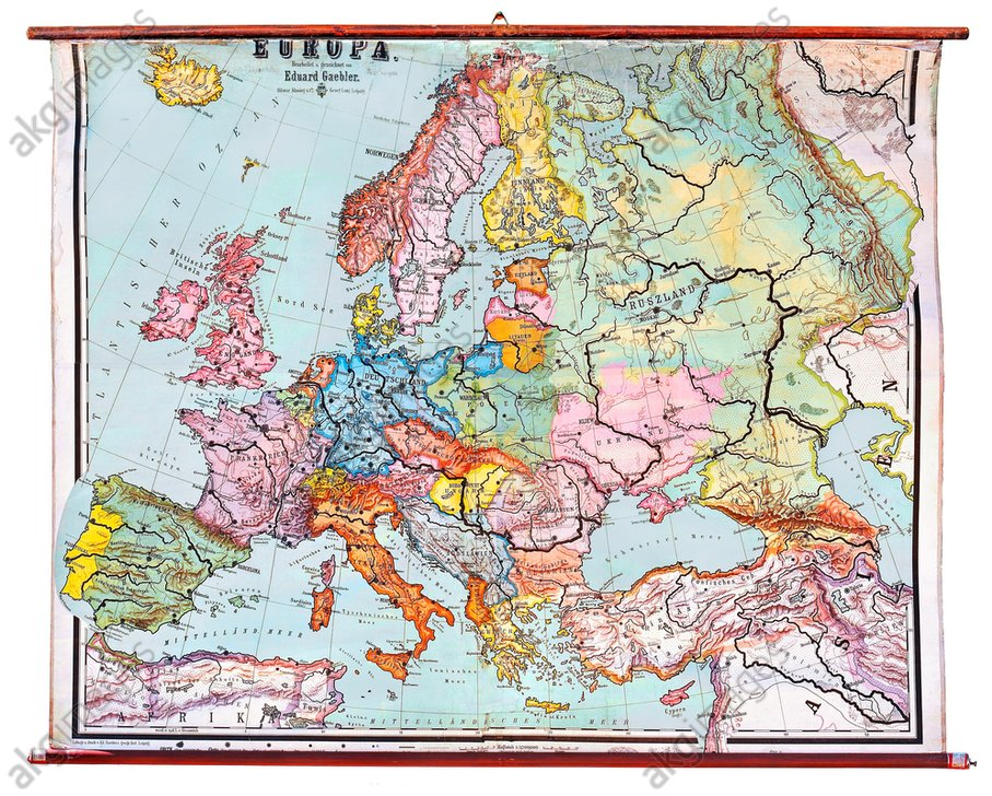 Map of Europe after World War I, according to the Treaty of Versailles, 1920.<br/>AKG1854955