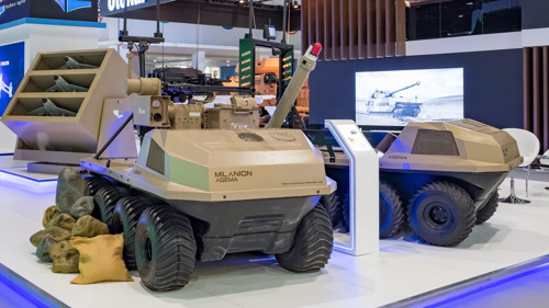 IDEX 2021 - Milanion Group Unveil the AGEMA UGV Mounted with Next- Generation Loitering Munitions System