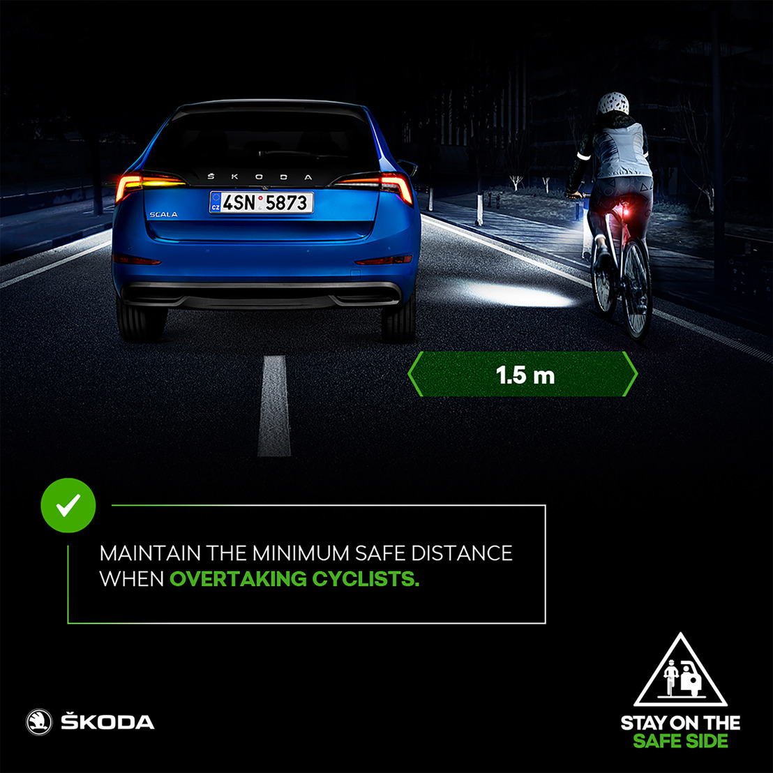 ŠKODA launches 'STAY ON THE SAFE SIDE' safety campaign for cyclists and motorists
