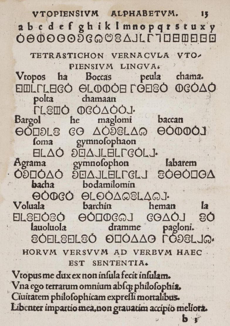 Utopia & More © Utopian alphabet, in Thomas More, Utopia, 1518, Basel, Johann Froben. University Library KU Leuven.