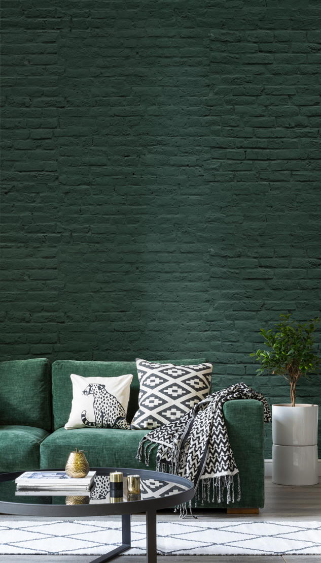 Deep Green Brick Wallpaper