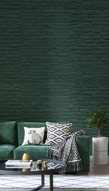 Deep Green Brick Wallpaper