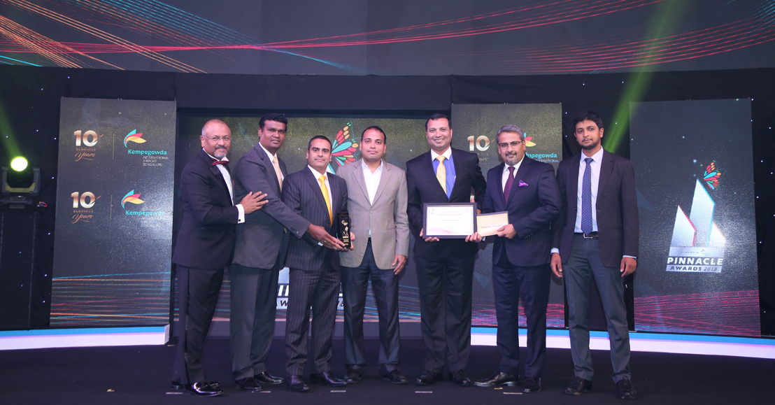 Emirates SkyCargo was also crowned 'Best International Cargo Airline' by BIAL  for the third time in a row. <br/>Left to right, Mr. Javed Malik -Chief Operating Officer- BIAL; Alphy Nathan-Emirates Cargo Officer, Halim Modassir-Emirates Cargo Manager Karnataka, <br/>Sunil Gaggar (Partner- Ernst &amp; Young); Sudhir Sukumaran-Emirates Regional Manager-South India; Hari Marar -Managing Director &amp; CEO-BIAL; Mir Asker Ali-Emirates Senior Cargo Sales Executive.