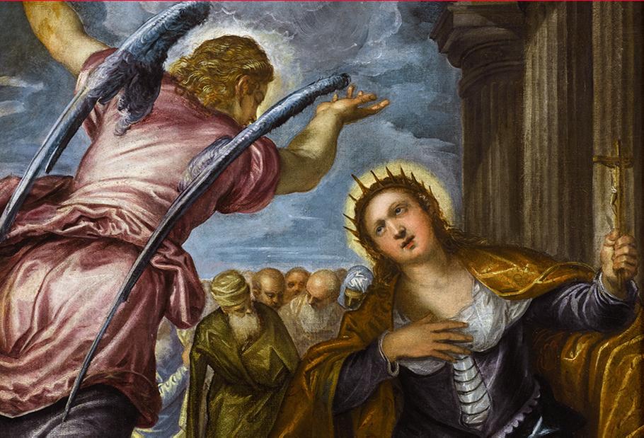 Detail Jacopo Tintoretto (1518-1594), de Heilige Catharina (1560-1570), particuliere verzameling, vanaf 26 juni 2017 in langdurig bruikleen in het Rubenshuis Antwerpen, foto KIK-IRPA