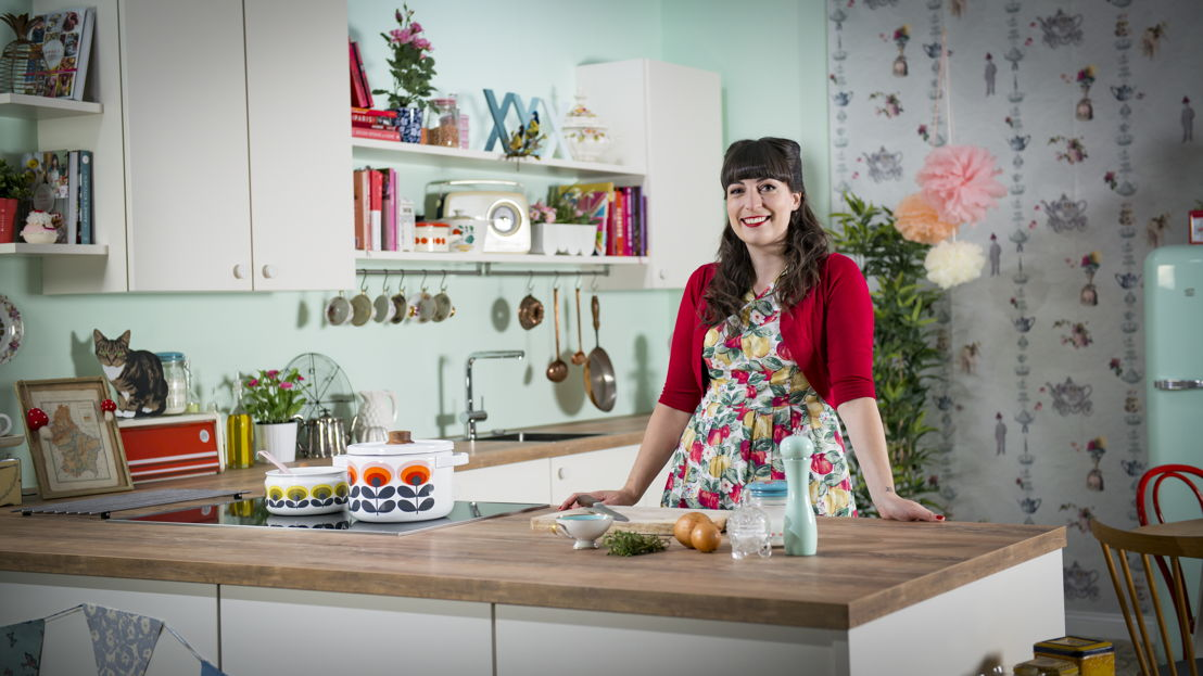 Anne Faber dans sa cuisine-studio TV èggo