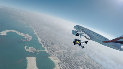 The Emirates A380 and Jetman Dubai take to the skies of Dubai for an unprecedented formation flight
