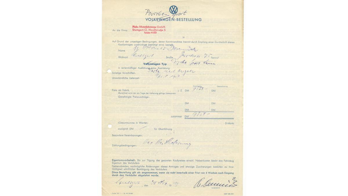 El formulario original del pedido de Ottomar Domnick en 1949.