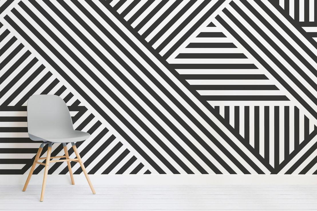 Divert Striped Geometric Mural - Chair