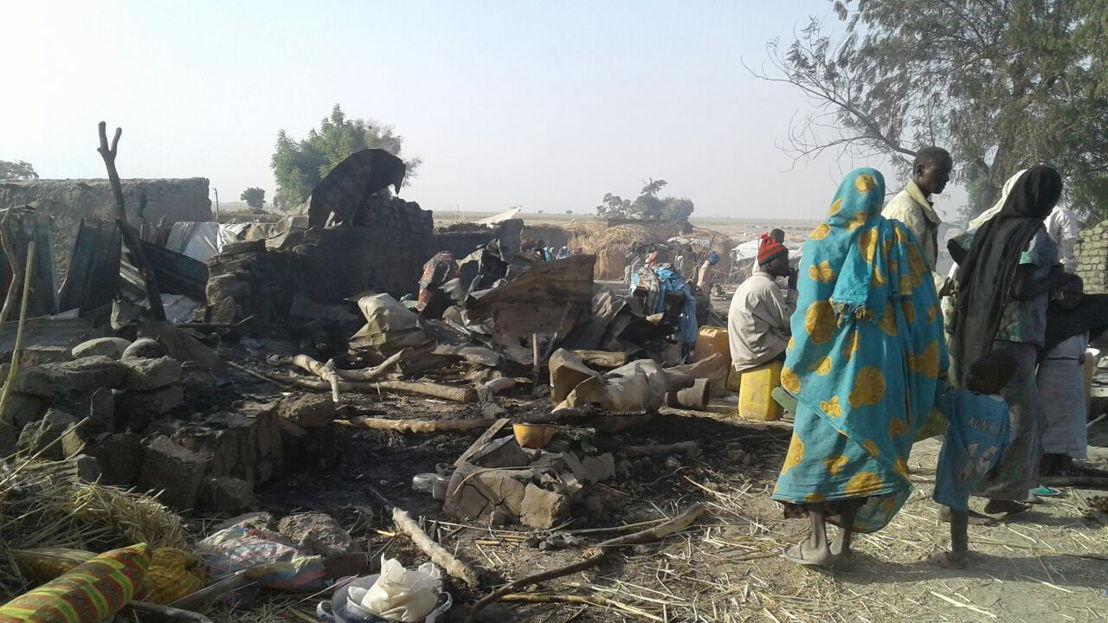 Bombardement eines Lagers für Binnenvertriebene in Rann