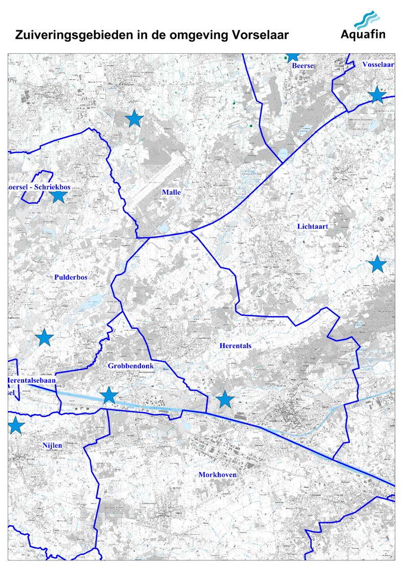 Waar wordt mijn afvalwater gezuiverd: zuiveringsgebieden in de omgeving van Vorselaar.