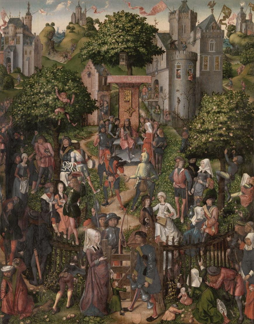 Auf der Suche nach Utopia © Meister von Frankfurt, Utopisches Treffen der Antwerpener Schützengilden (das sogenannte Schützenfest), Antwerpen, 1493. Antwerpen, Königliches Museum der Schönen Künste. (Lukas - Art in Flanders vzw)