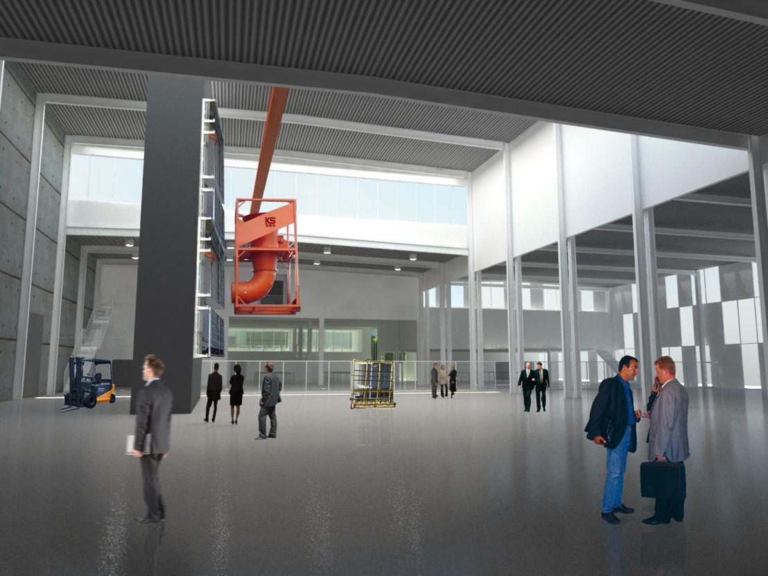 Rendering uitbreiding Reynaers hoofdkantoor en Reynaers Institute in Duffel
