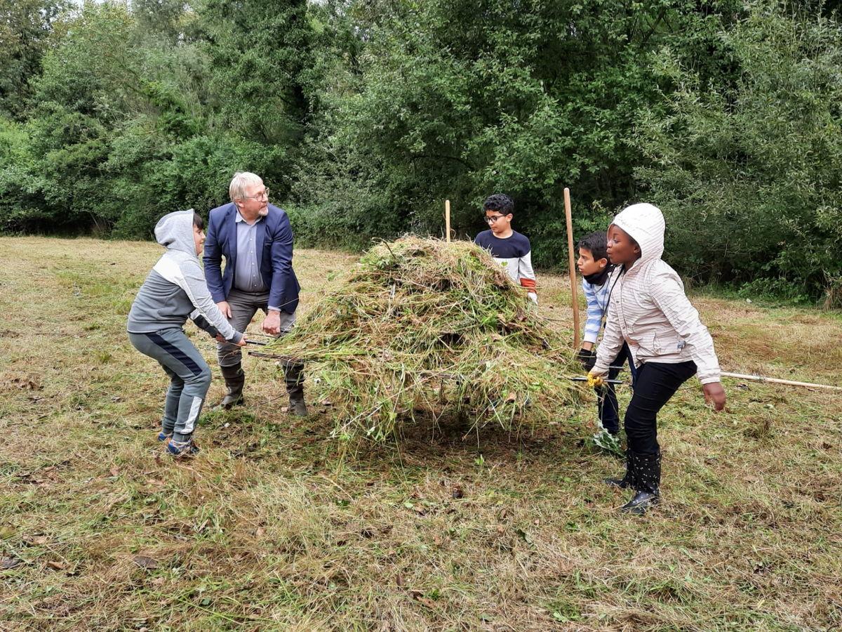 De leerlingen van GLS De Regenboog uit Zelllik dragen gemaaid hooi weg uit natuurgebied Droogveld