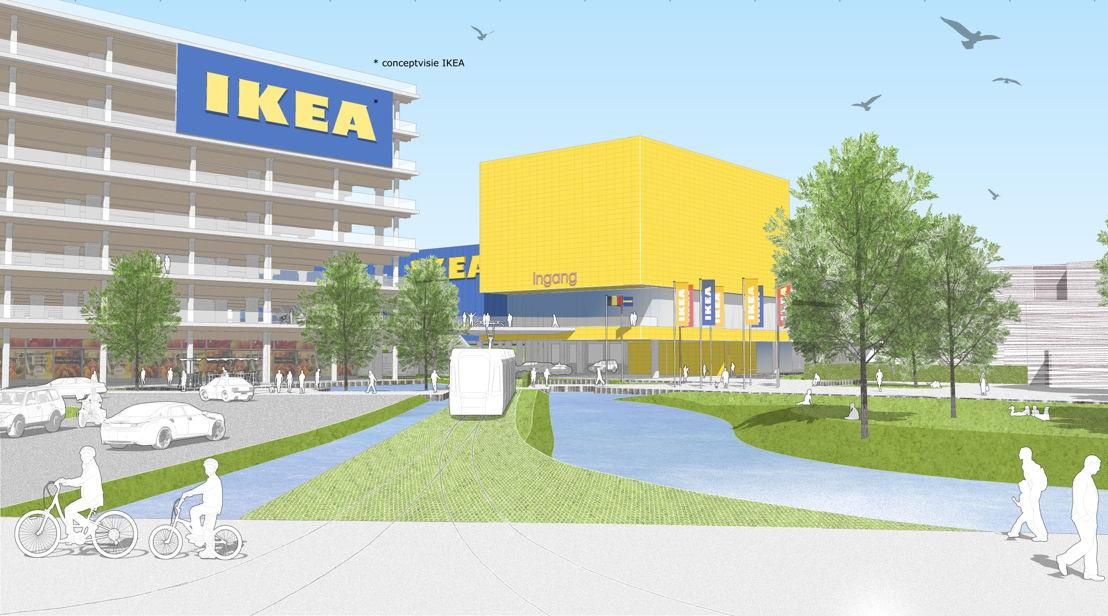 Schets van de nieuwe IKEA vestiging op de Havanasite - Zicht op het voorplein vanaf de Noorderlaan