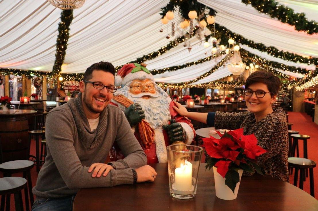 Daan Masset, de kerstman en Eva Droogmans (c) VRT/Radio 2 Limburg