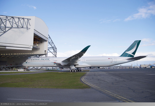 Cathay Pacific's first Airbus A350-1000 rolls out of the paint shop in Toulouse