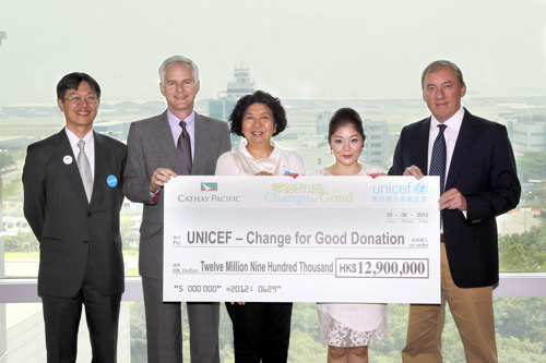 Cathay Pacific/UNICEF 'Change for Good' raises over HK$12.9 million in 2011 to help underprivileged children worldwide