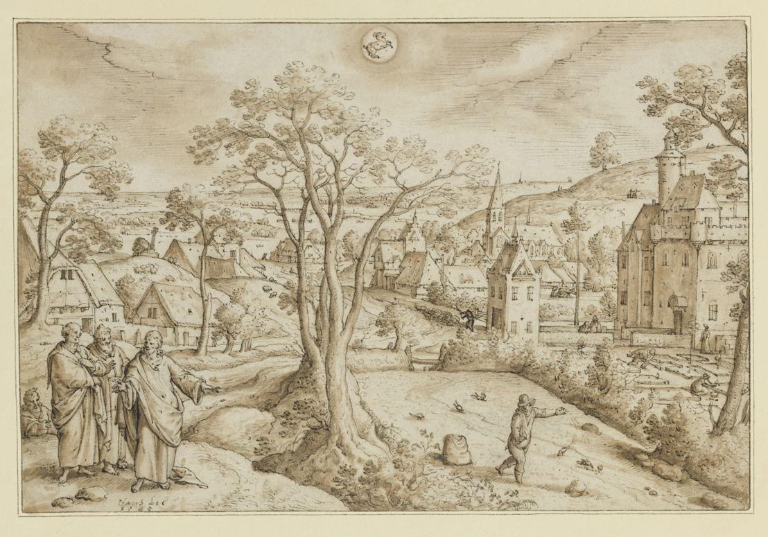 Hans Bol: voortekening van de maand april (de 'zaaimaand'), in het teken van de stier en met de bekende parabel van de zaaier