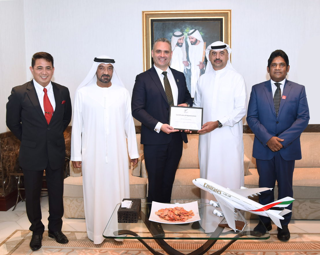In the presence of His Highness Sheikh Ahmed bin Saeed Al-Maktoum, Chairman and Chief Executive of Emirates Airline and Group,  His Excellency Fletcher Tabuteau MP, New Zealand Parliamentary Under-Secretary for Foreign Affairs (third from left) handed over a certificate of appreciation to Dr Abdulla Al Hashimi, Divisional Senior Vice President, Emirates Group Security (second from right) for Emirates Group Security's efforts to safeguard borders and prevent illegal migration