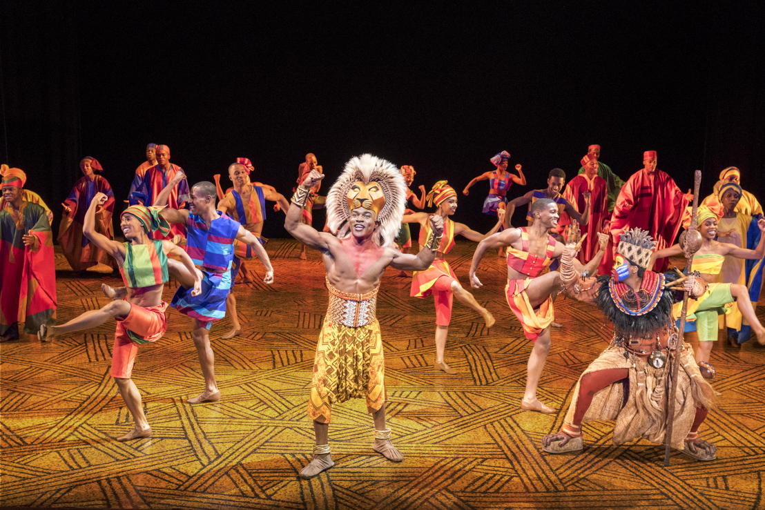 "Gerald Caesar as ""Simba"" and Company in THE LION KING North American Tour. ©Disney.  Photo by Deen van Meer"