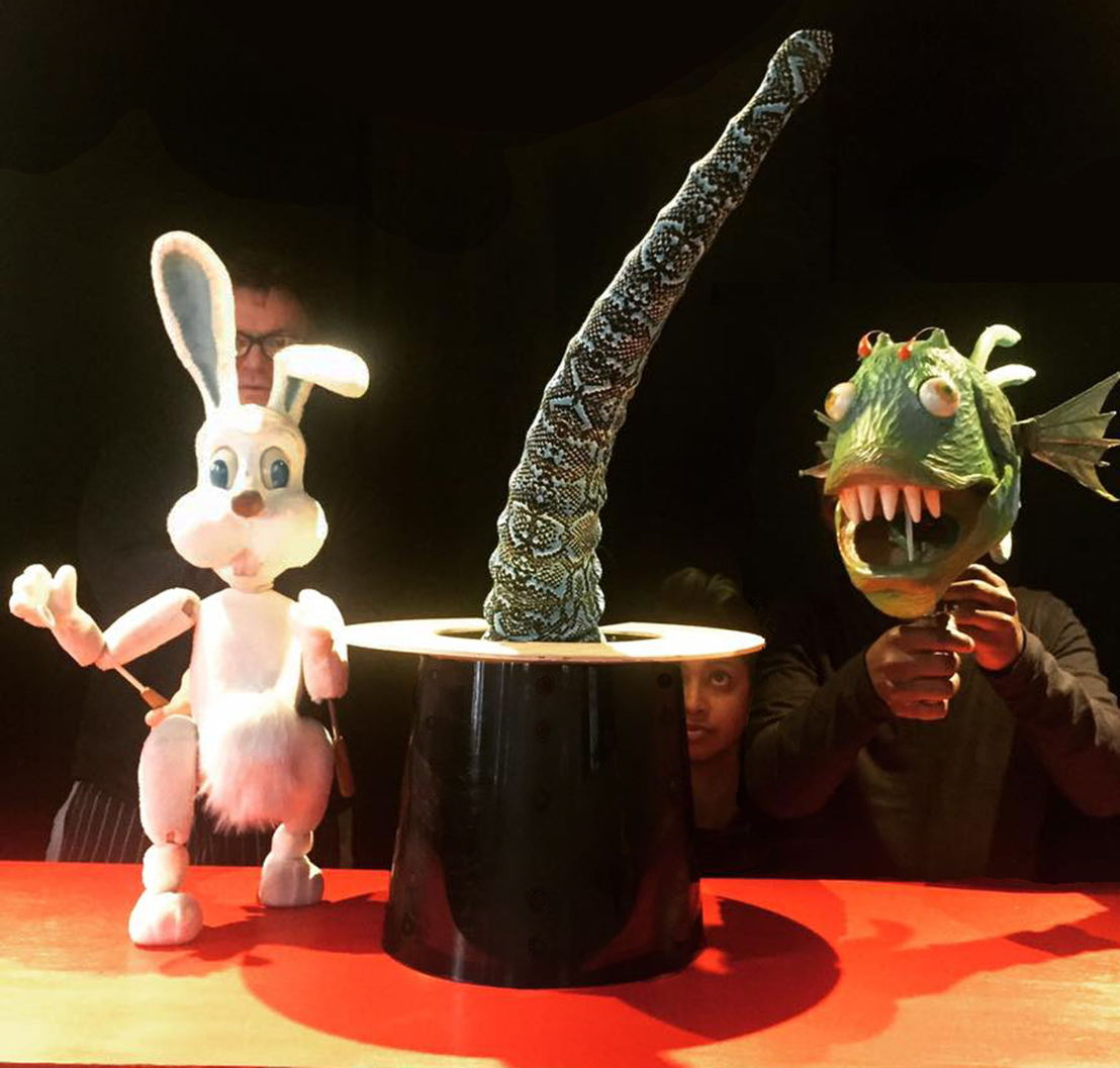 Bunny, Fish and Tentacle with puppeteers Andy Jones, Jessica Mias-Jones and Sivuyile Gaji. Image by Melanie Roberts