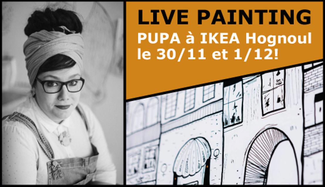 IKEA Hognoul et l'artiste Pupa réalisent en co-creation une nouvelle fresque