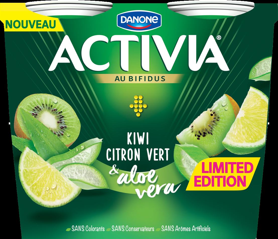 Activia Kiwi Citron vert &amp; Aloe Vera avec des morceaux de fruits, sans arômes artificiels,<br/> sans colorants et sans conservateurs