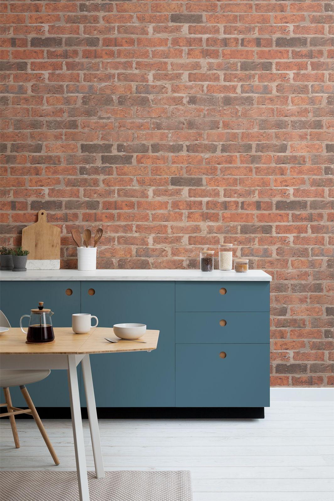 """La cocina con el mural """"Lambeth"""""""