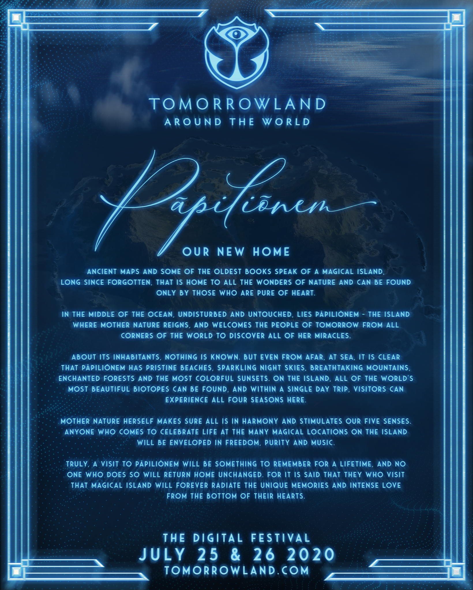 The magical island Pāpiliōnem will welcome the People of Tomorrow during Tomorrowland Around the World, the digital festival !