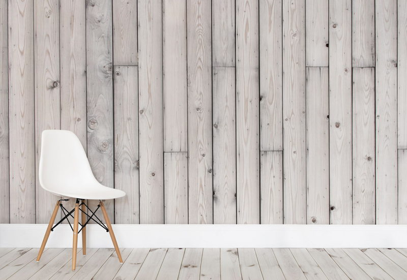 Silvered Wood Wall Mural