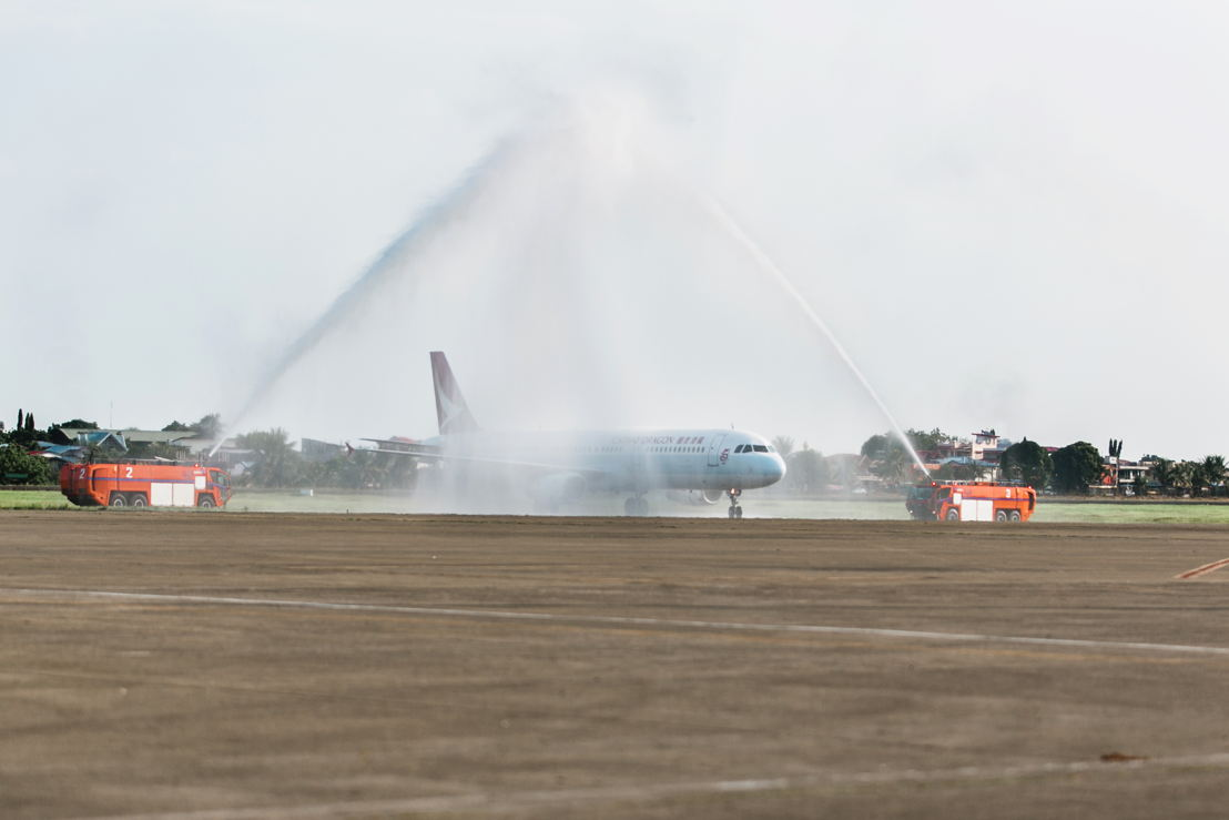 Water cannon salute at Francisco Bangoy International Airport, Davao