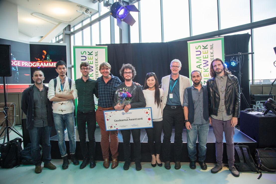 Gaudeamus Award 2016: vlnr Shih-Wei Lo, David Bird, Willem Jeths, Anthony Vine, Seung Won Oh, Henk Heuvelmans, Giulio Colangelo, James O'Callaghan (c) Herre Vermeer