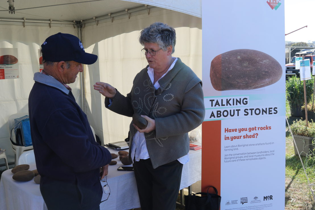 Dr Robyn McKenzie talks to local farmer Clyde Goodie of Coolamon, NSW. Image, NSW.