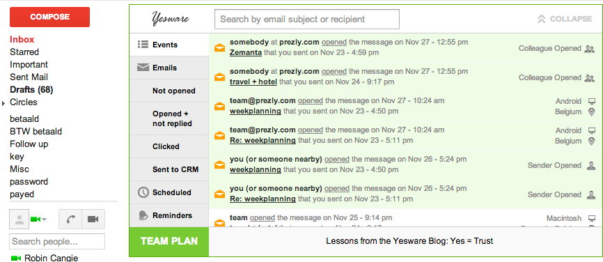 Using Yesware for PR Automation