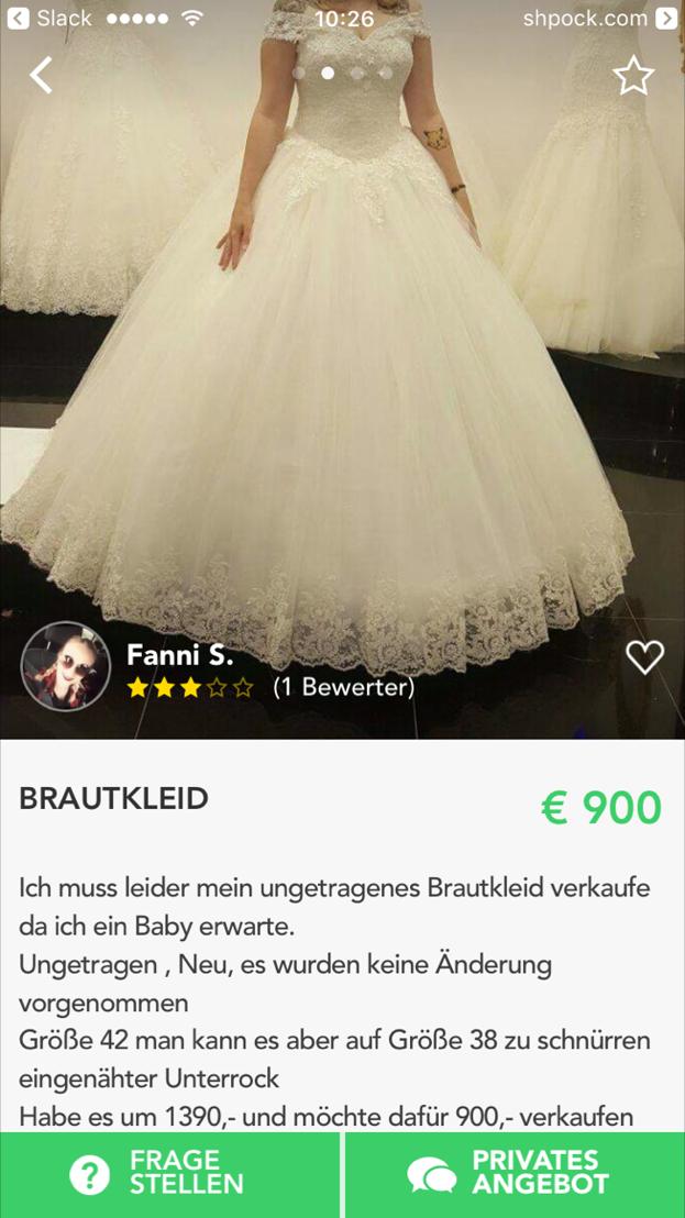 Ungetragenes Brautkleid auf Shpock - Bildcredit: (c) Shpock - Abdruck honorarfrei
