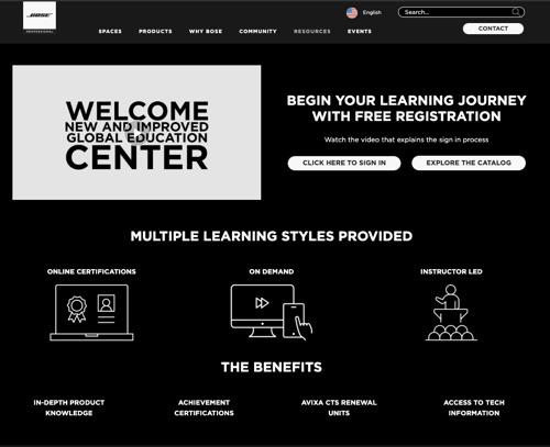 Bose Profesional amplía los recursos de capacitación disponibles en su GlobalEDU Center