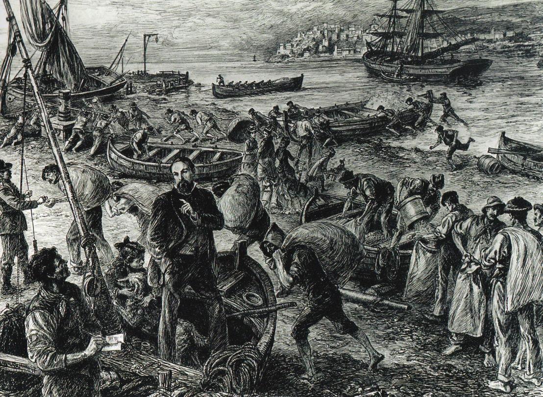 Scarico del grano giunto col brigantino Paolo Battista Agnesi, 1877. Stabilimento Agnesi - Imperia.jpg