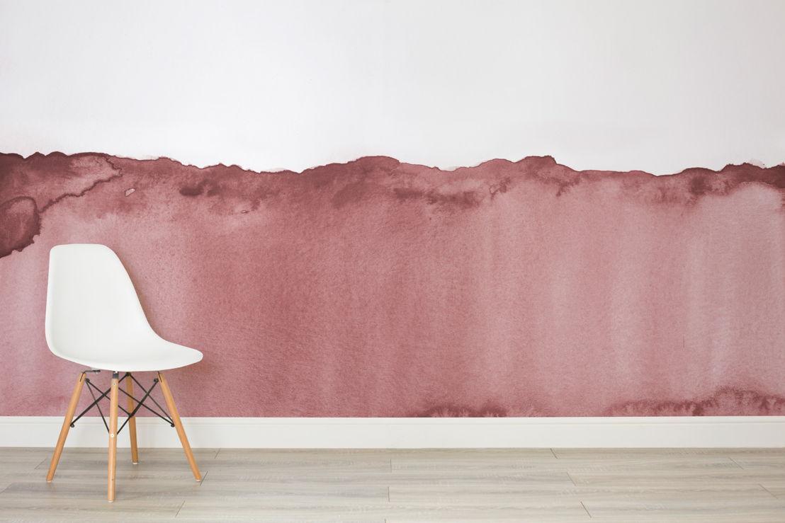 Dusky Pink Watercolour Wave