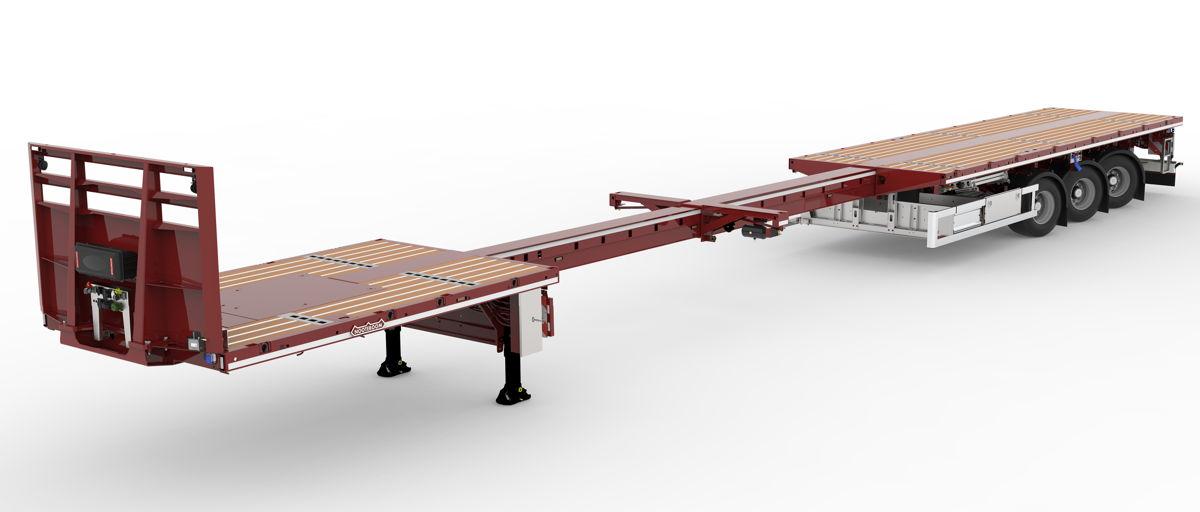 El TELETRAILER LONGRUNNER es la última generación de vehículos Nooteboom de plataforma plana extensibles y ligeros con una carga útil neta máxima de 42,5 toneladas a 80 km/h.