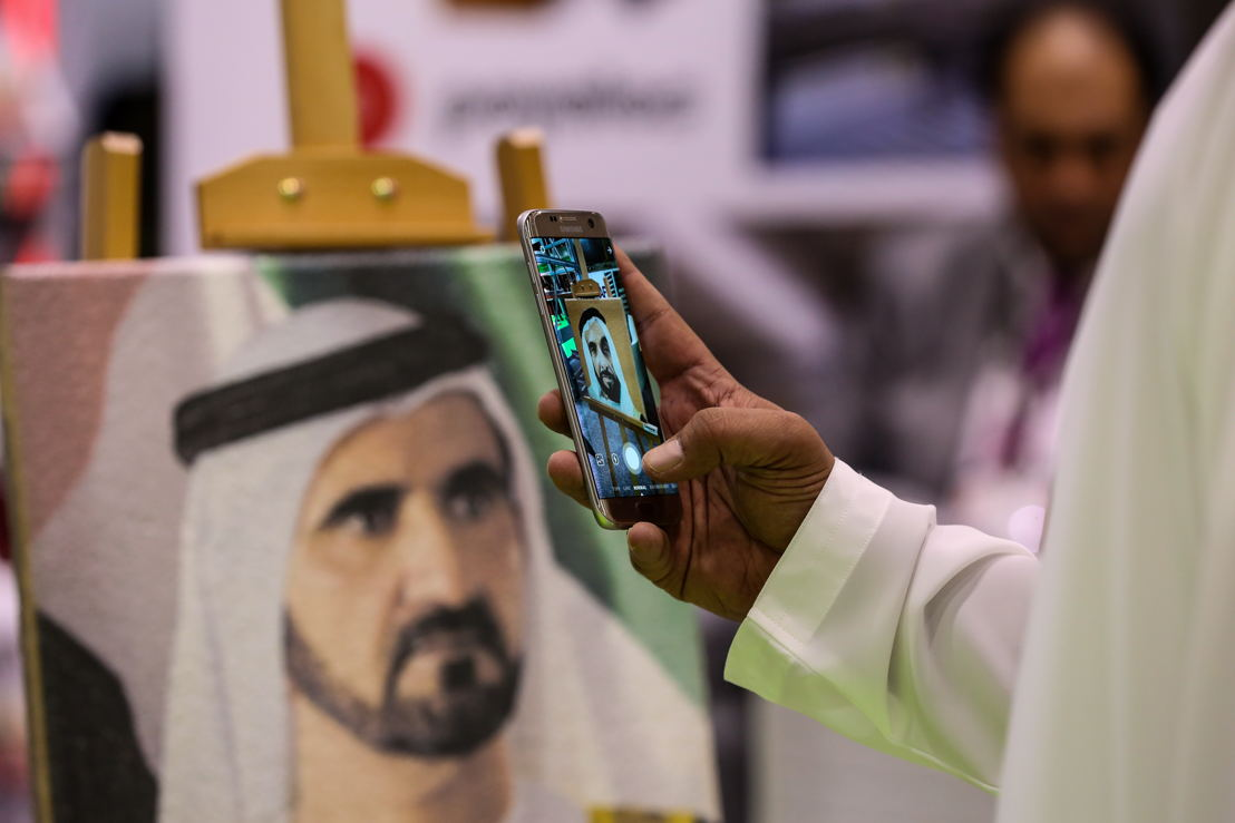 portraits of Sheikh Zayed bin Sultan Al Nahyan and Sheikh Mohammed bin Rashid Al Maktoum printed on concrete were presented by Deewan Equipment Trd. exhibitor