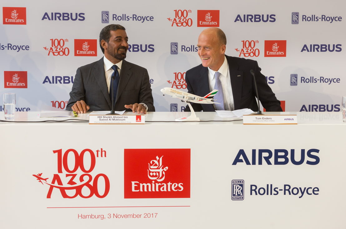 Addressing VIP guests and media at the Hamburg event; (left to right)HH Sheikh Ahmed bin Saeed Al Maktoum, Chairman and Chief Executive Officer, Emirates Airline & Group and Tom Enders, Chief Executive Officer of Airbus.