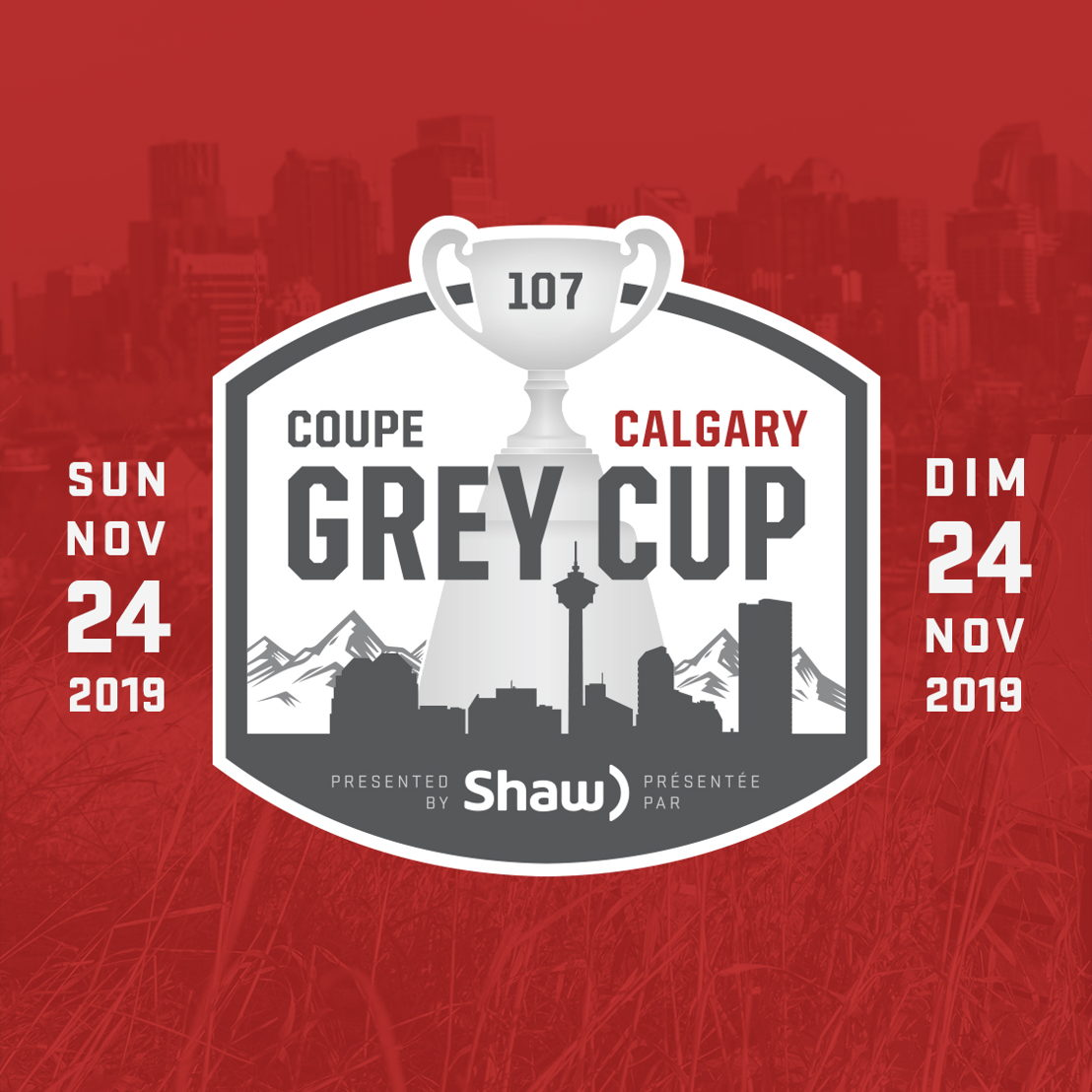 107th Grey Cup presented by Shaw Logo.