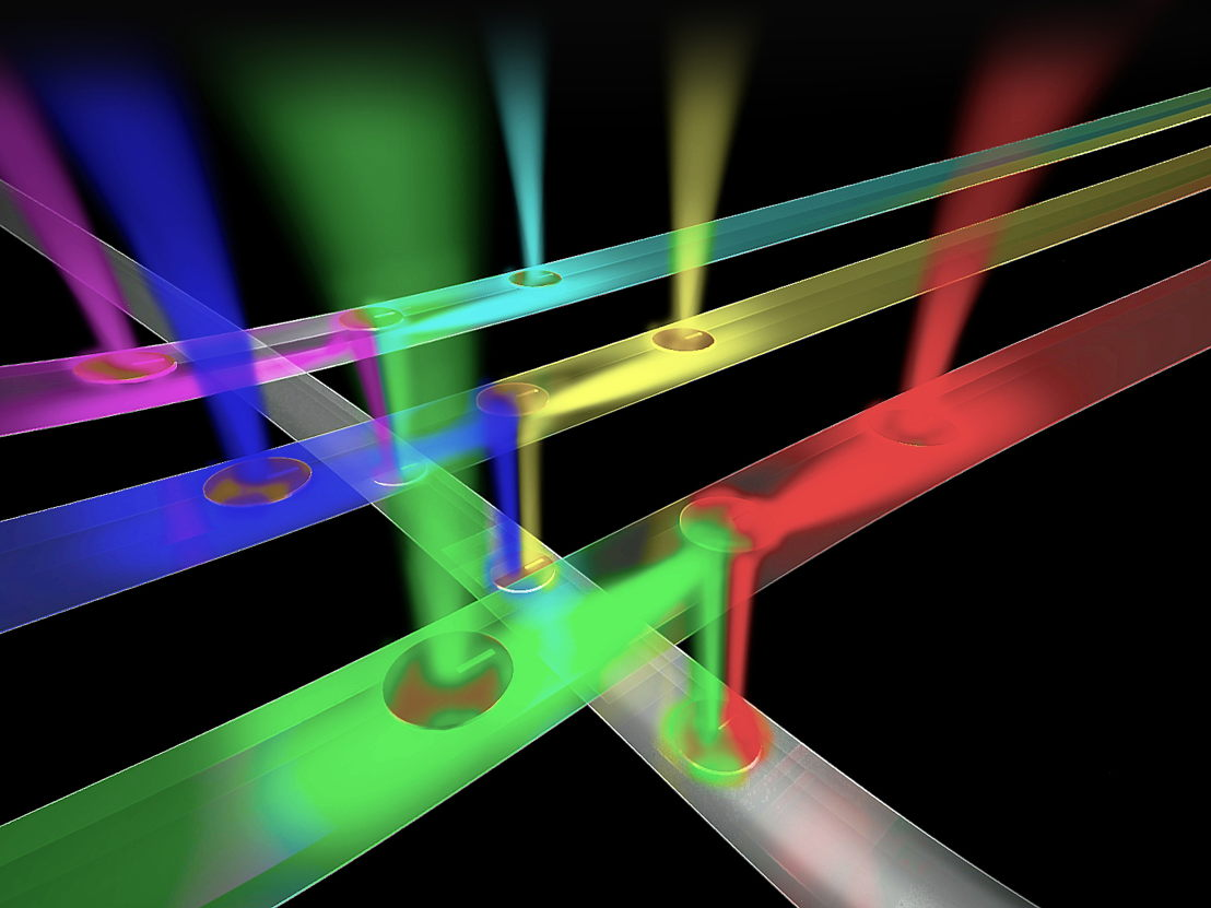 An artist's impression of a network of optical wires receiving and routeing different streams of information to enable ultra-fast transmission of information in multicore processors for gaming and high-performance computing. Image: ANU
