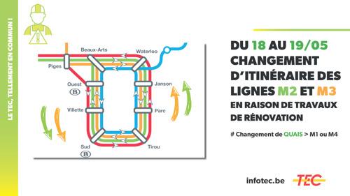 Du 18 au 19 mai, circulation inversée des lignes M2 et M3