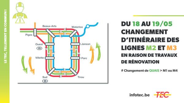Preview: Du 18 au 19 mai, circulation inversée des lignes M2 et M3
