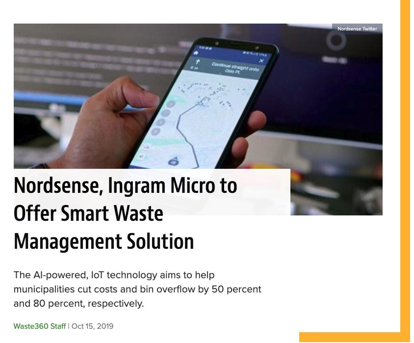 Nordsense, Ingram Micro to Offer Smart Waste Management Solution