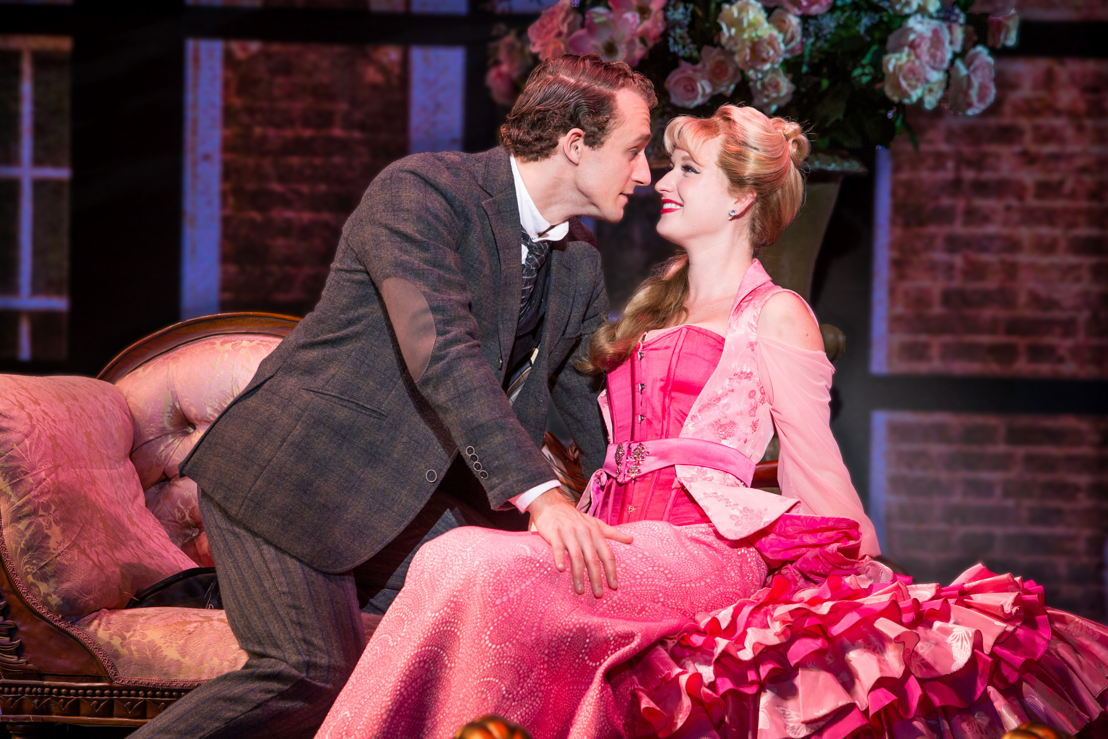 """National Touring Company. Colleen McLaughlin as Sibella Hallward and Blake Price as Monty Navarro in a scene from """"A Gentleman's Guide to Love & Murder."""" Photo credit: Jeremy Daniel."""