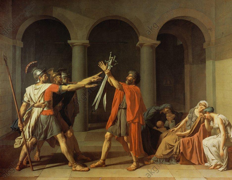 """Image ID: AKG46105<br/><br/>The Oath of the HoratiiDavid, Jacques Louis 1748–1825.<br/><br/>""""The Oath of the Horatii"""", 1784.<br/><br/>Oil on canvas, 330 × 427cm.<br/>Paris, Musée du Louvre."""