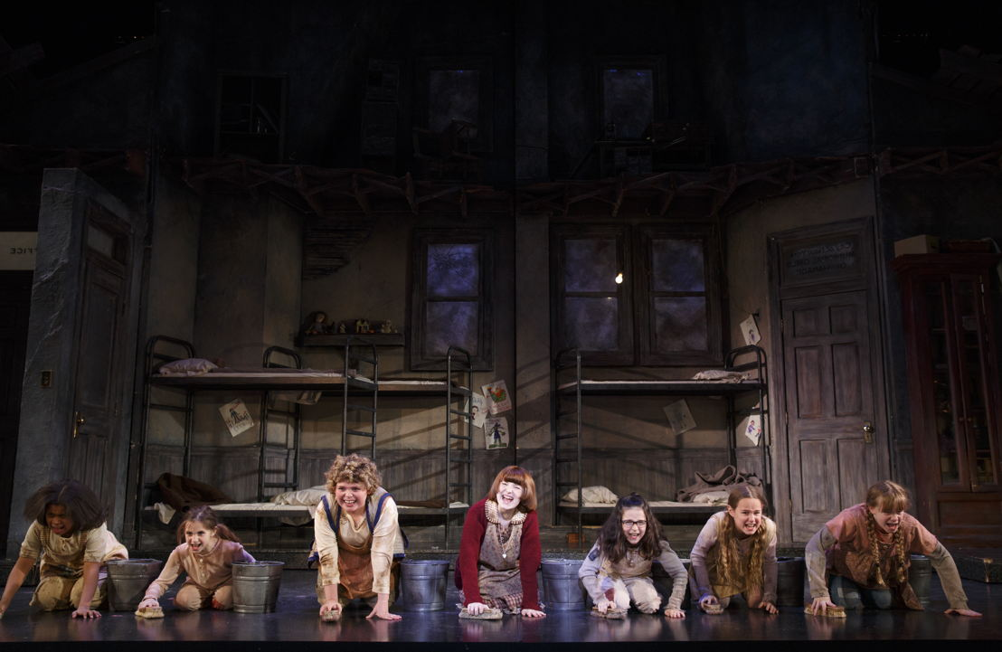 "Casey Watkins, Annabelle Wachtel, Sage Bentley, Heidi Gray, Bridget Carly<br/>Marsh, Emily Moreland and Molly Rose Meredith in ""It's the Hard Knock Life""<br/>Photo: Joan Marcus"