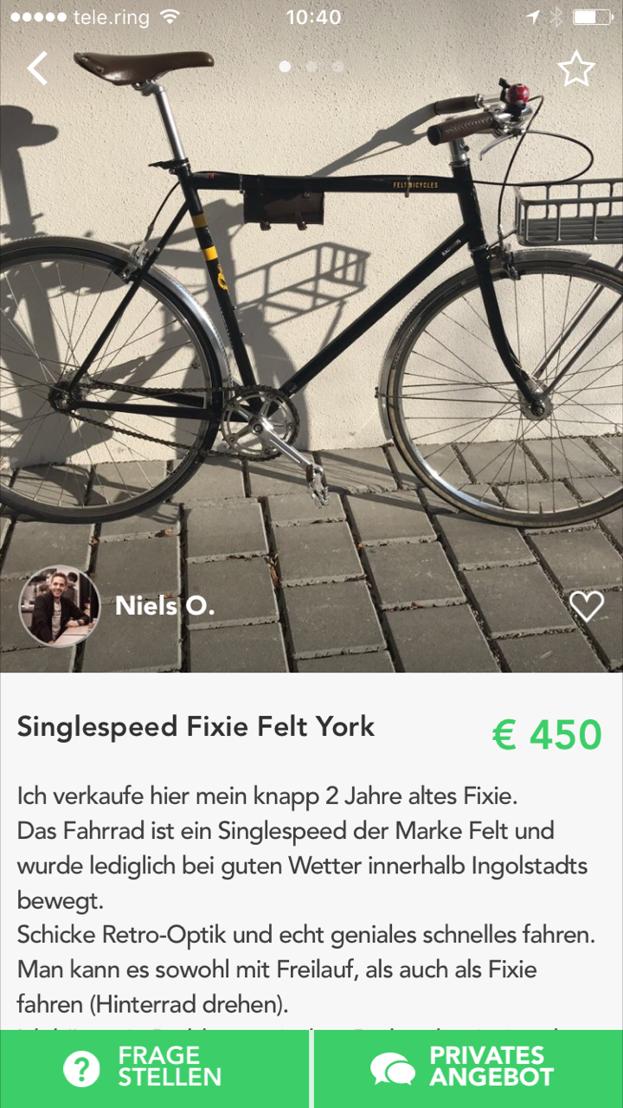 Singlespeed-Bike - (c) Shpock - Abdruck honorarfrei